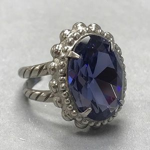 Faceted Deep Purple Crystal Oval/Ant.Silver Ring